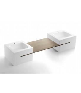 Lavabo doble Bathco Calabria 152x45 cm Solid Surface blanco