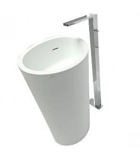 Lavabo Krion SystemPool Almond desagüe pared blanco
