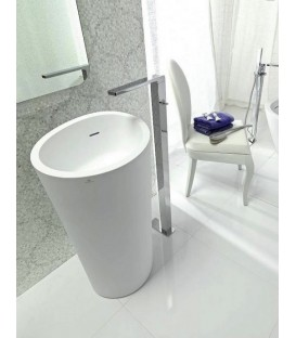 Lavabo Krion SystemPool Almond desagüe pared gris