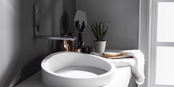 Lavabo blanco de solid surface